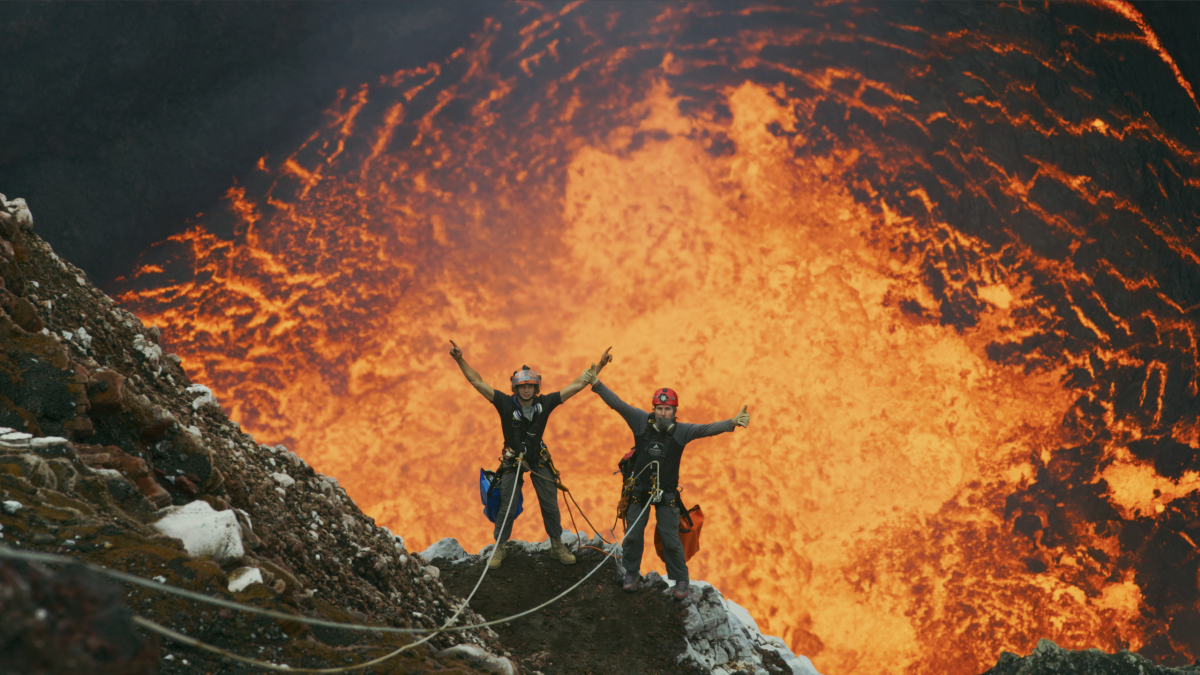 Carsten Peters and Chris Horsley in the Marum Crater