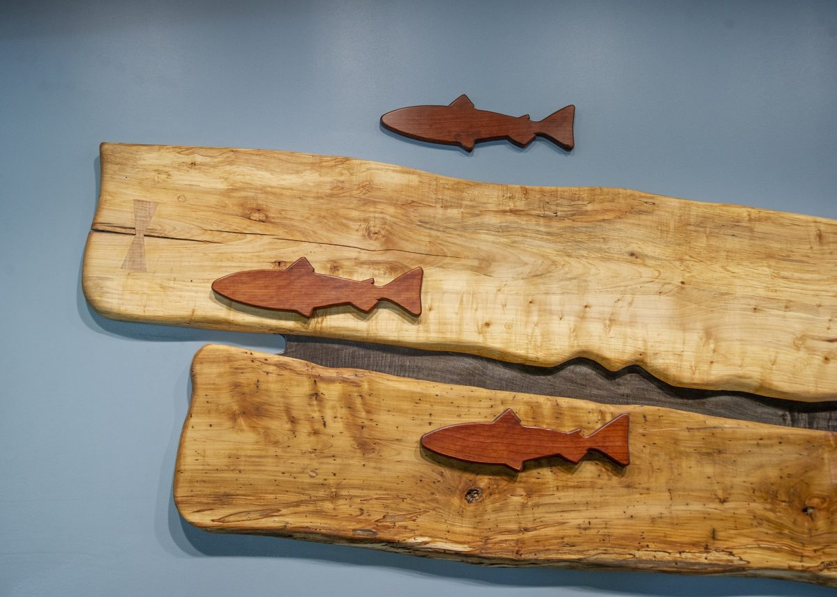 Wood Mural Swimming Trout Feature