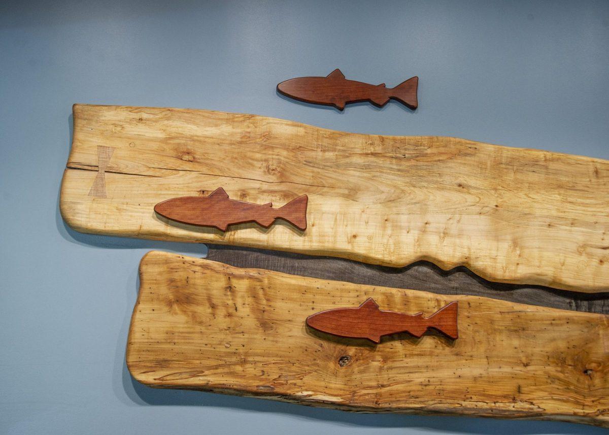 wooden fish mural