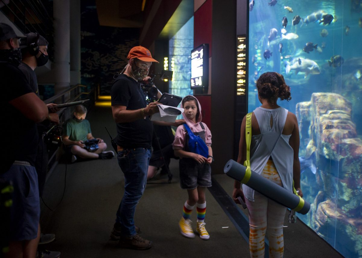 Filming early scenes of the pilot in the River Journey building