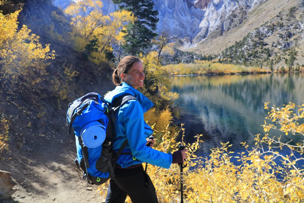Jennifer Pharr Davis – Professional hiker, Jennifer Pharr Davis, admires the crisp beauty of an autumn morning near Mammoth Lakes.