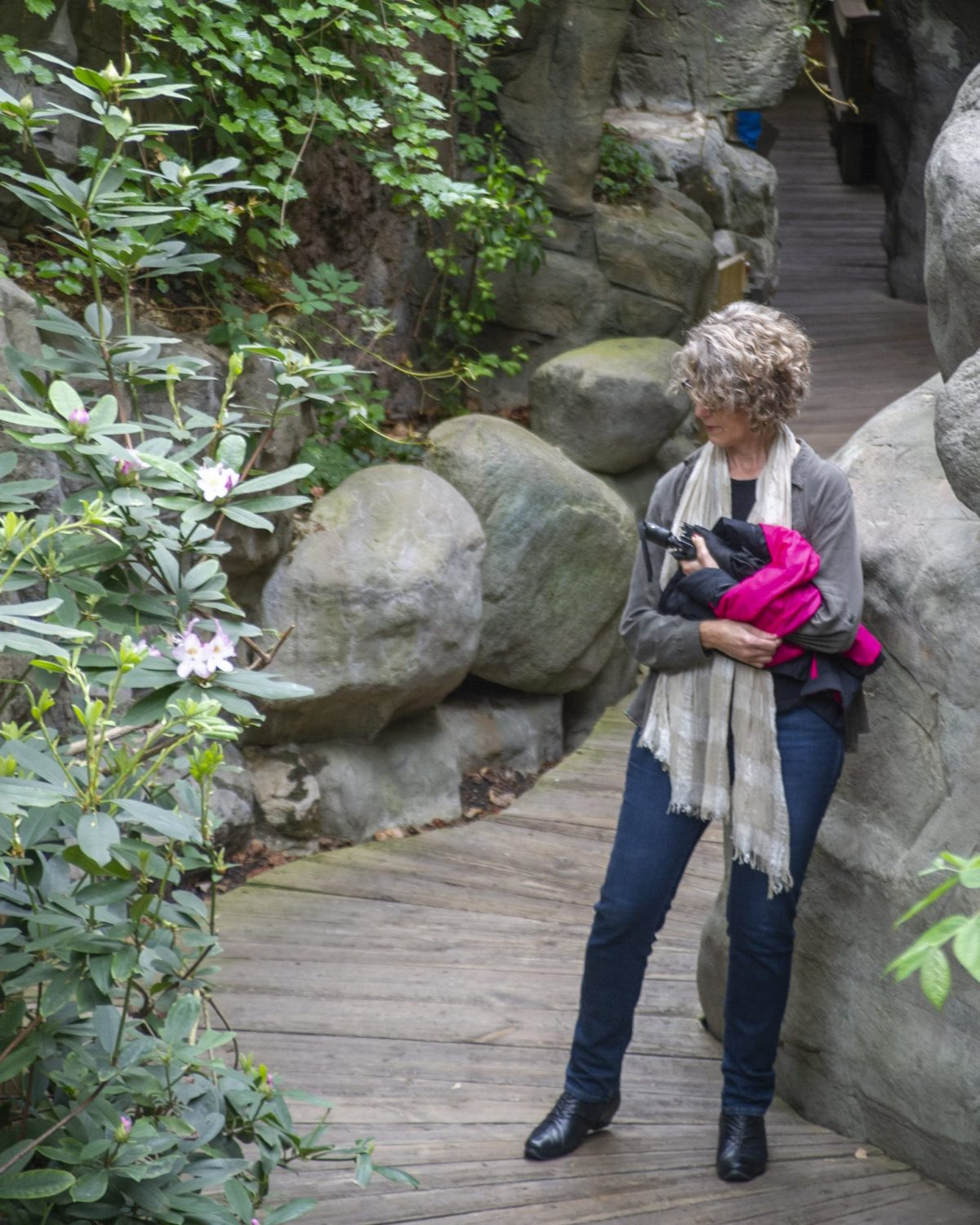 Guest stops to view blooms in the Appalachian Cove Forest gallery