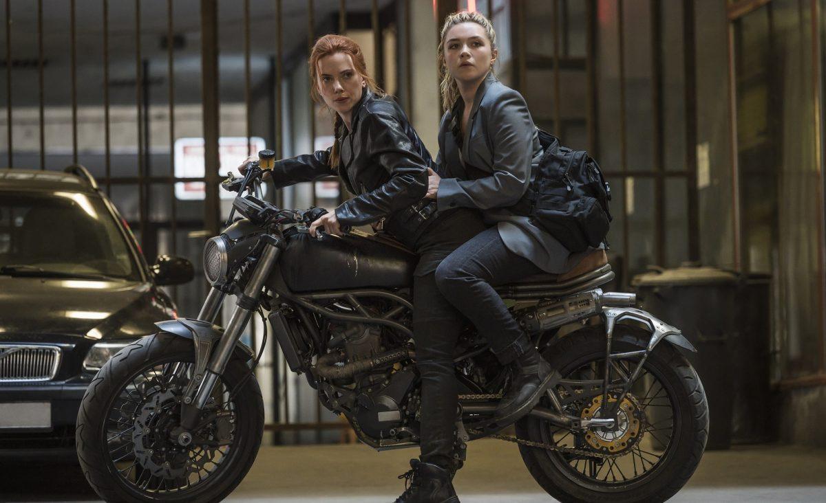 Black Widow and Yelena Balova on motor cycle